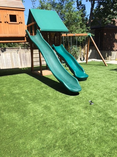 Artificial turf for backyard playgrounds